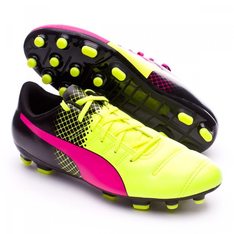 20ea4f209ae Football Boots Puma evoPower 4.3 AG Tricks Pink glo-Safety yellow-Black -  Football store Fútbol Emotion