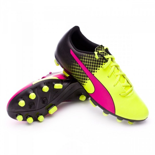 Chaussure  Puma jr evoSpeed 5.5 AG Tricks Pink glo-Safety yellow-Black