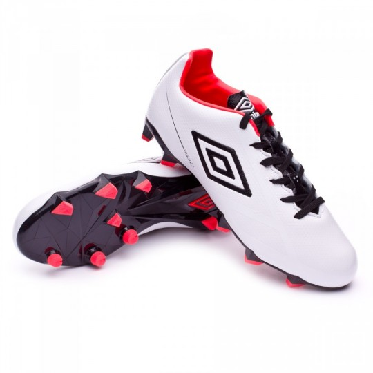Chuteira  Umbro Velocita Club HG White-Black-Fiery coral