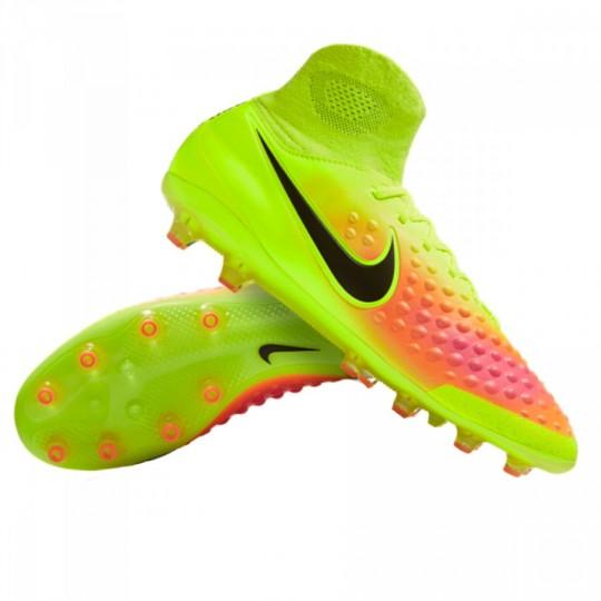 Chuteira  Nike Magista Orden II AG Volt-Black-Total orange-Pink blast