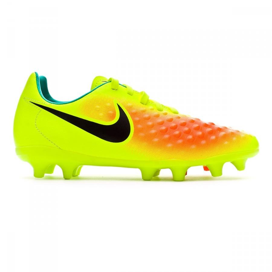 70bc1cbc37e92 Chuteira Nike Jr Magista Opus II ACC FG Volt-Black-Total orange-Clear jade  - Loja de futebol Fútbol Emotion