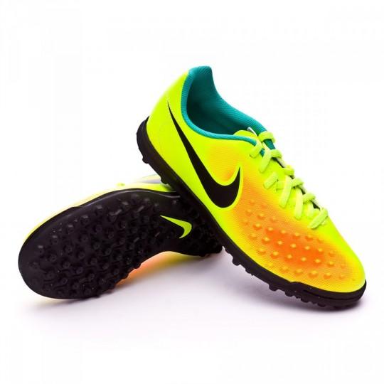 Chuteira  Nike jr Magista Ola II Turf Volt-Black-Total orange-Clear jade