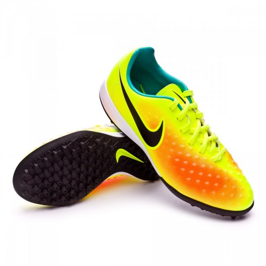 Bota  Nike jr Magista Opus II ACC Turf Volt-Black-Total orange-Clear jade