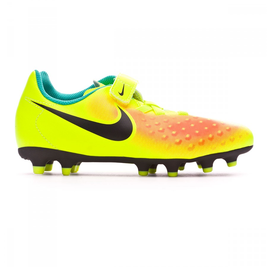 31cbfee618dd Football Boots Nike Jr Magista Ola II Velcro FG Volt-Black-Total orange-Clear  jade - Football store Fútbol Emotion