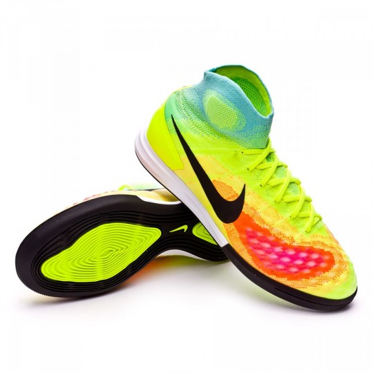 Sapatilha de Futsal  Nike MagistaX Proximo II IC Volt-Black-Hyper turquoise-Total orange