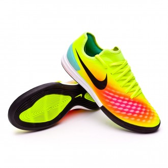 Sapatilha de Futsal  Nike MagistaX Finale II IC Volt-Black-Total orange-Pink blast