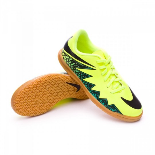 Zapatilla de fútbol sala  Nike jr HyperVenomX Phade II IC Volt-Black-Hyper turquoise-Clear jade