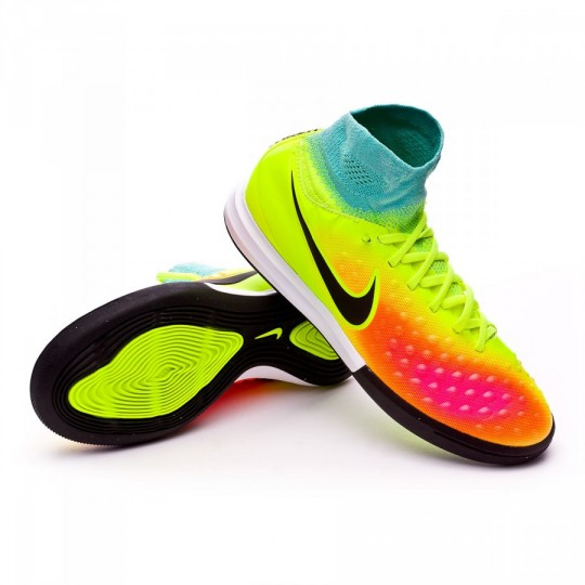 Sapatilha de Futsal  Nike jr MagistaX Proximo II IC Volt-Black-Hyper turquoise-Total orange