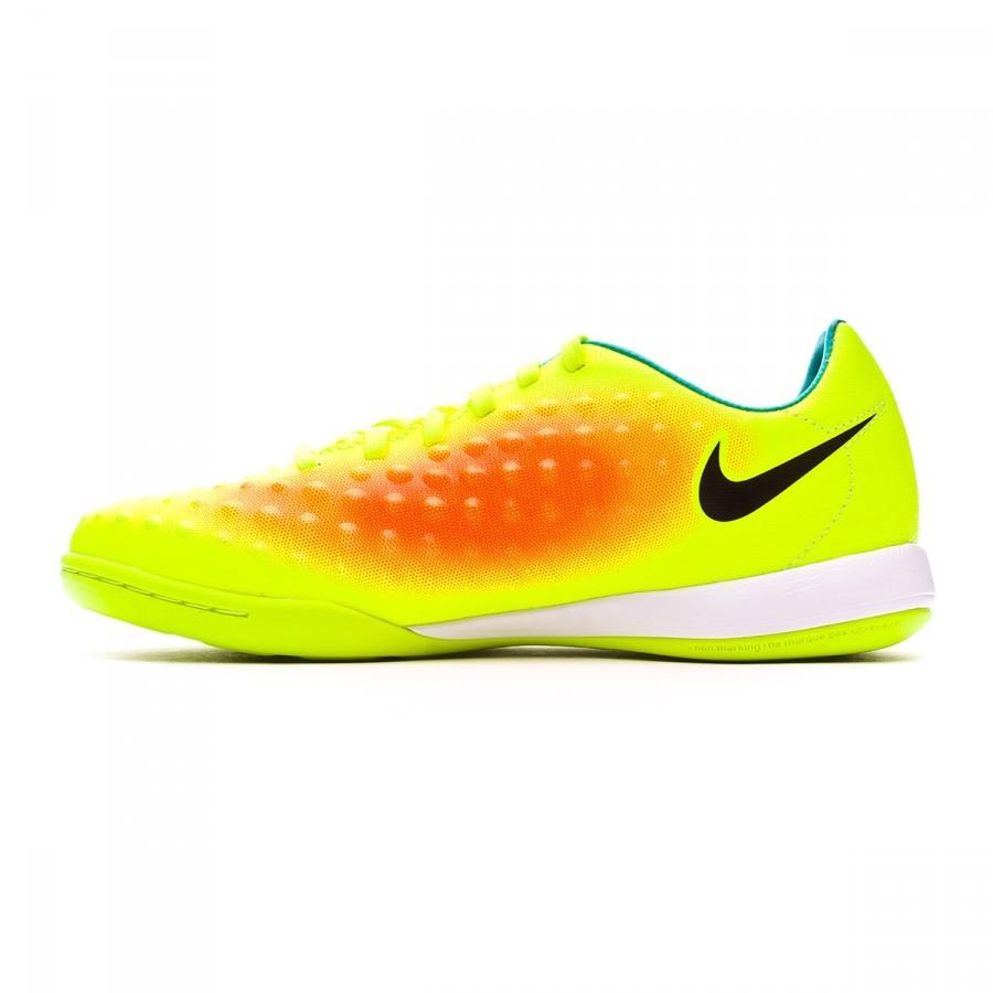 89a4fb784449e Zapatilla Nike MagistaX Opus II IC Niño Volt-Black-Total orange-Clear jade  - Tienda de fútbol Fútbol Emotion