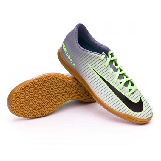 Sapatilha de Futsal  Nike Mercurial Vortex III IC Pure platinium-Black-Ghost green-Clear jade