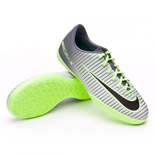 Sapatilha de Futsal  Nike jr Mercurial Vapor XI IC Pure platinium-Black-Ghost green-Clear jade