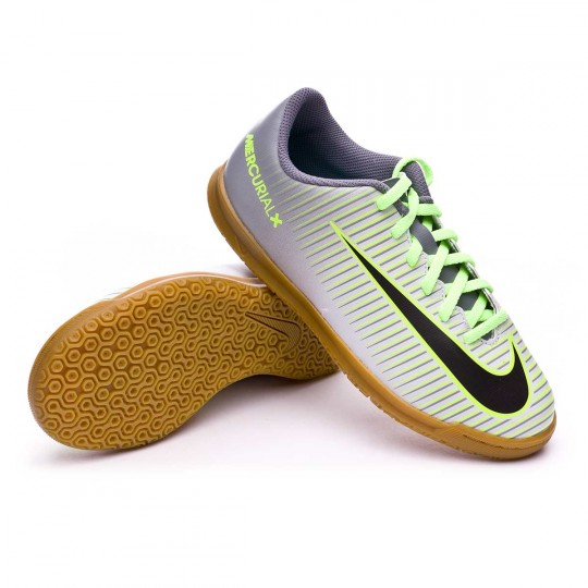 Sapatilha de Futsal  Nike jr Mercurial Vortex III IC Pure platinium-Black-Ghost green-Clear jade