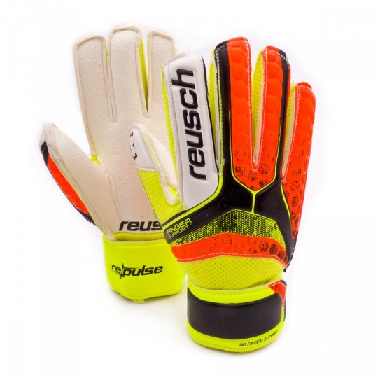 Guante  Reusch Jr Re:pulse RG Finger Support Black-Shocking orange