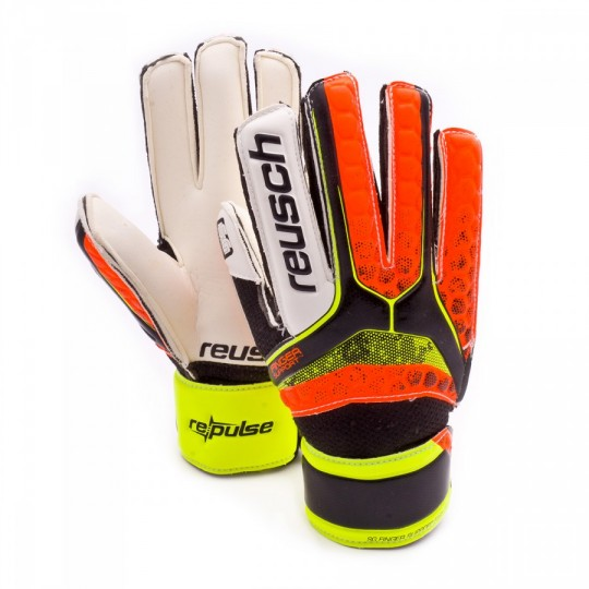 Guante  Reusch Jr Re:pulse SG Finger Support Easy Black-Shocking orange