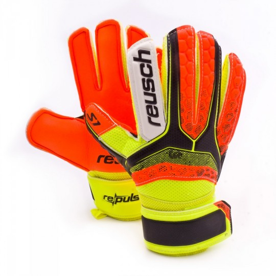 Guante  Reusch Jr Re:pulse S1 Black-Shocking orange