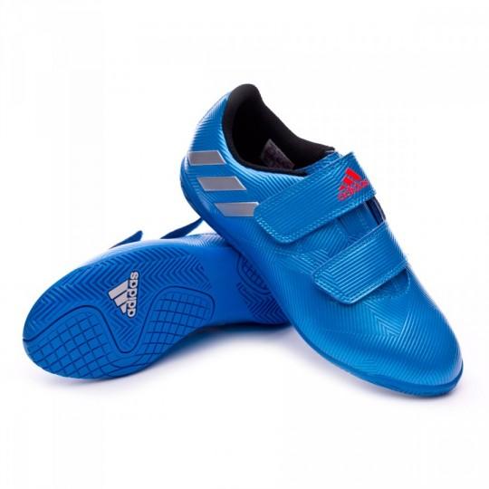 Zapatilla de fútbol sala  adidas jr Messi 16.4 IN Velcro Shock blue-Matte silver-Black