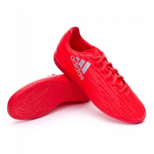 Sapatilha de Futsal  adidas X 16.3 IN Solar red-Silver metallic
