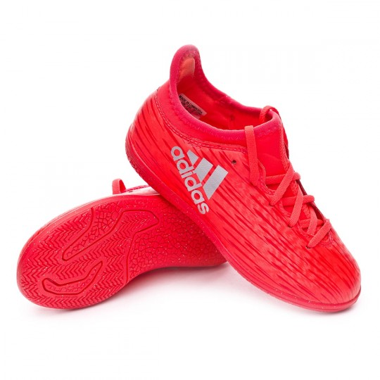 Sapatilha de Futsal  adidas jr X 16.3 IN Solar red-Silver metallic