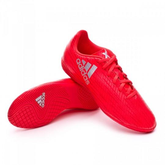 Sapatilha de Futsal  adidas jr X 16.4 IN Solar red-Silver metallic