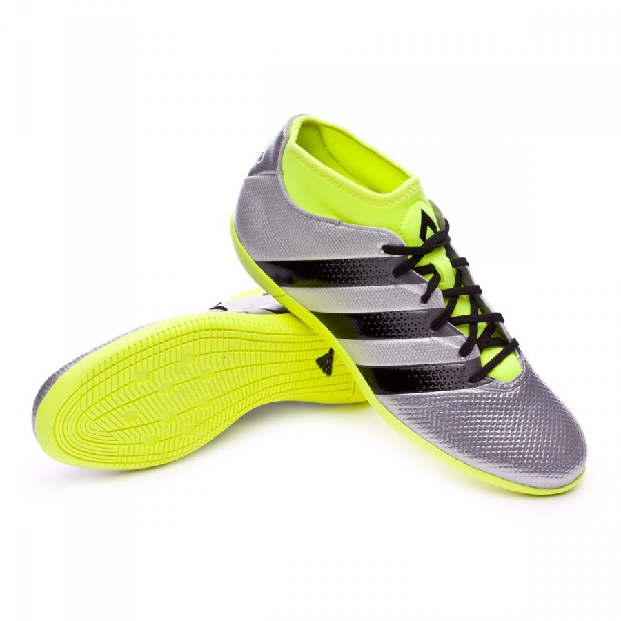 brand new f8e54 883c3 Futsal Boot adidas Ace 16.3 Primemesh IN Silver metallic-Black-Solar yellow  - Football store Fútbol Emotion