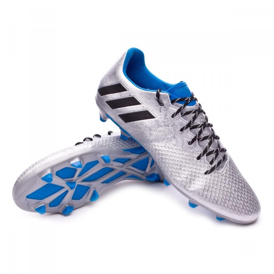 4c527f106 Football Boots adidas Messi 16.3 FG Silver metallic-Black-Shock blue ...