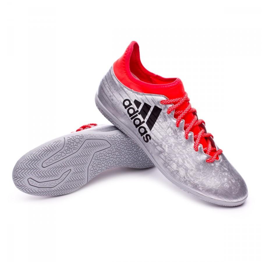 Futsal Boot adidas X 16.3 IN Silver metallic-Black-Solar red ... 6f318a649af