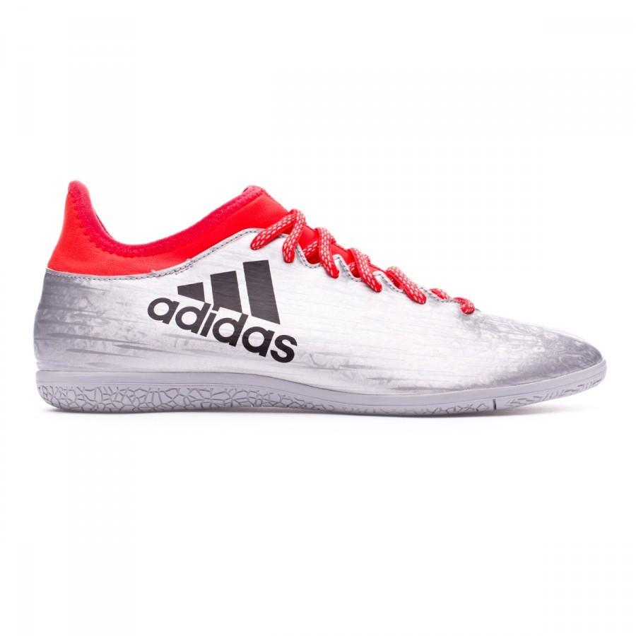 Futsal Boot adidas X 16.3 IN Silver metallic-Black-Solar red - Football  store Fútbol Emotion 4374436d738