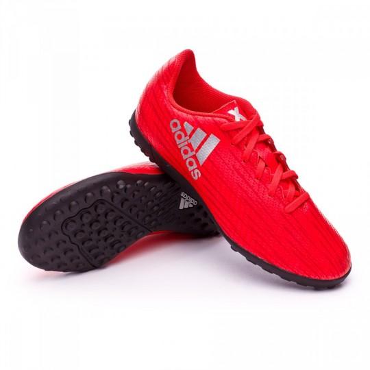 Chuteira  adidas jr X 16.4 TF Solar red-Silver metallic