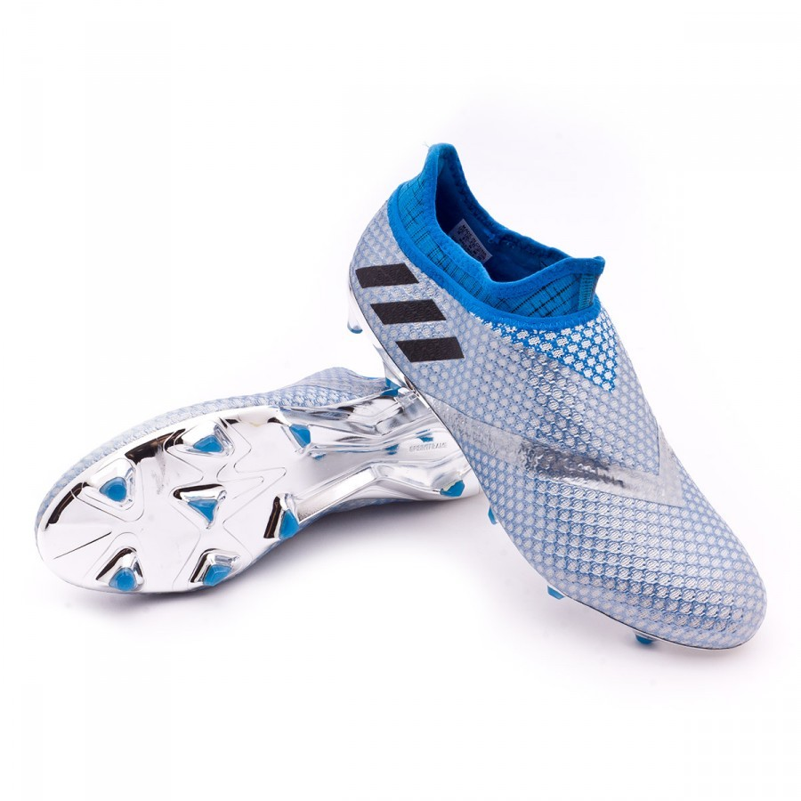 2baa07d7f40 adidas Messi 16+ Pureagility Football Boots. Silver metallic-Black-Shock  blue ...