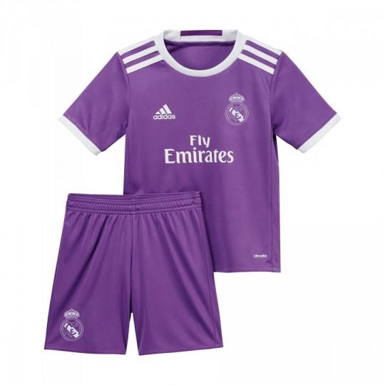 Conjunto  adidas jr Real Madrid Away 2ª 2016-2017 Ray purple-Crystal white