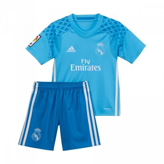 Conjunto  adidas jr Real Madrid Home Portero 2016-2017 Bright cyan-Crystal white