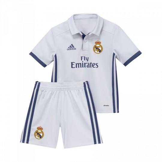 Conjunto  adidas jr Real Madrid mini Home 2016-2017 Crystal white-Raw purple