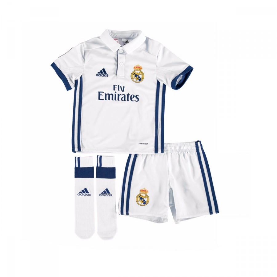 Conjunto adidas Real Madrid Primera Equipación 2016-2017 Niño Crystal  white-Raw purple - Soloporteros es ahora Fútbol Emotion 7e3091271ae4c