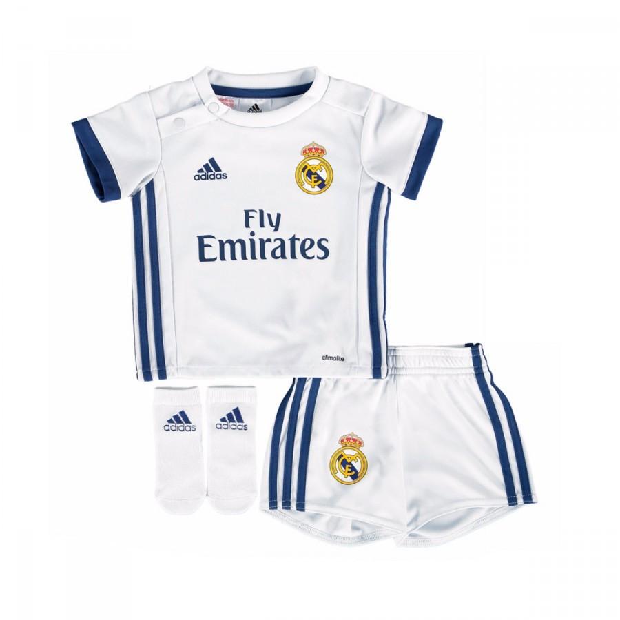 25e04b9af1225 Conjunto adidas Bebé Real Madrid Primera Equipación 2016-2017 Crystal  white-Raw purple - Tienda de fútbol Fútbol Emotion
