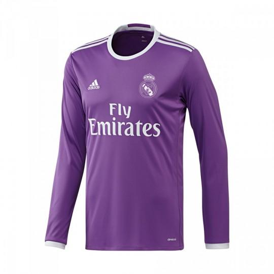 Camiseta  adidas Real Madrid Away Manga Larga 2016-2017 Ray purple-Crystal white