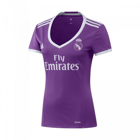 Camiseta  adidas Real Madrid Segunda Equipación Mujer 2016-2017 Ray purple-Crystal white