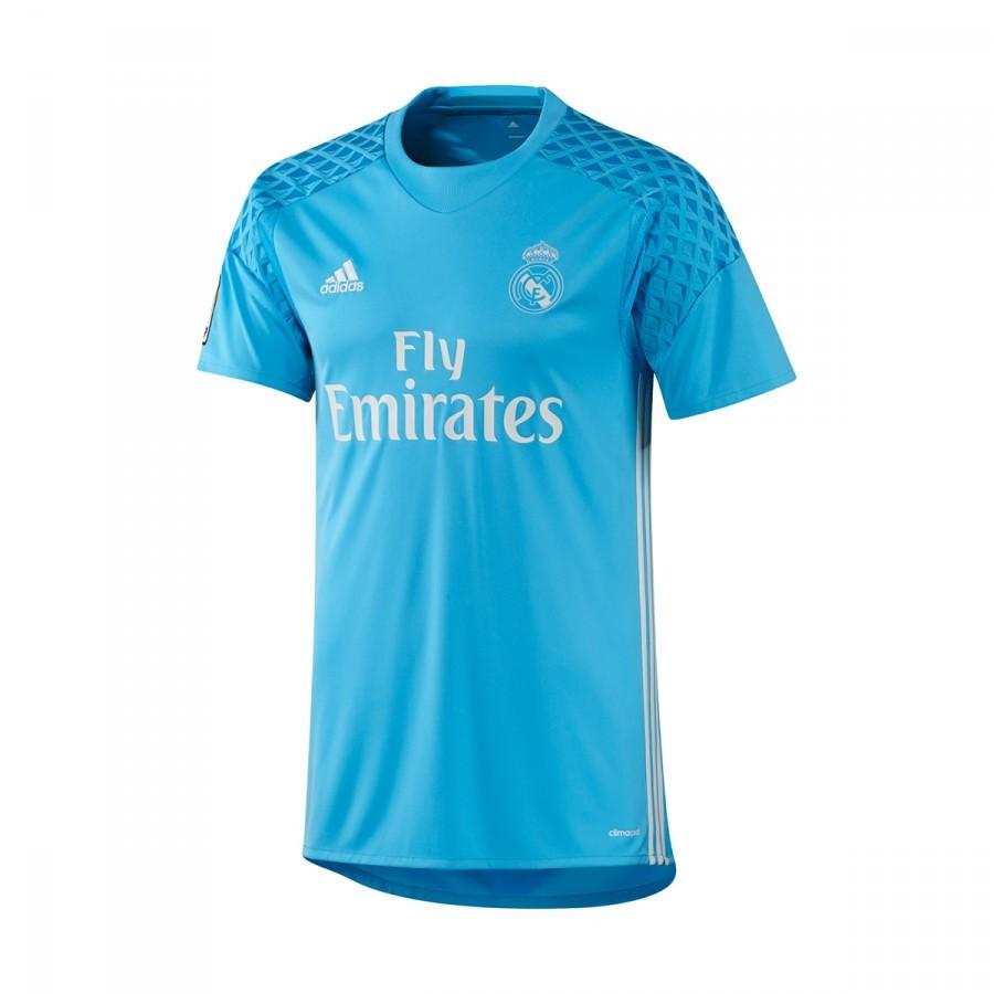 b5eb06b319a7f Camiseta adidas Real Madrid Primera Equipación Portero 2016-2017 Bright  cyan-Crystal white - Tienda de fútbol Fútbol Emotion