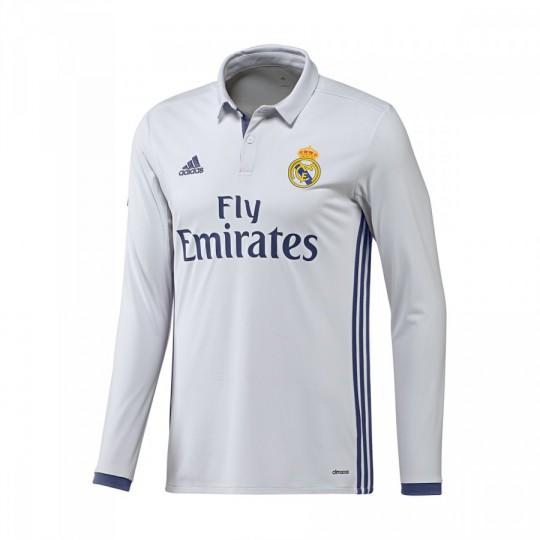 Camiseta  adidas Real Madrid Home Manga Larga 2016-2017 Crystal white-Raw purple
