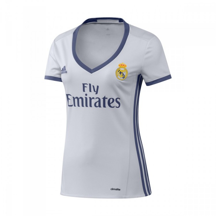 Jersey adidas Real Madrid Home Mujer 2016-2017 Crystal white-Raw ... 66f3f6358391d