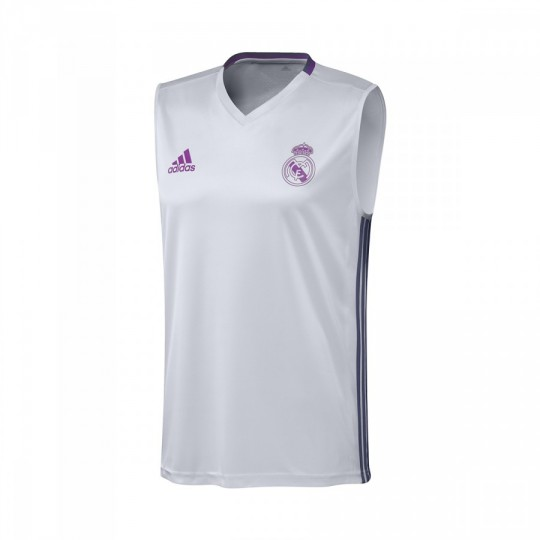 Camisola  adidas Treino Real Madrid Pre-jogo 2016-2017 Crystal white-Raw purple