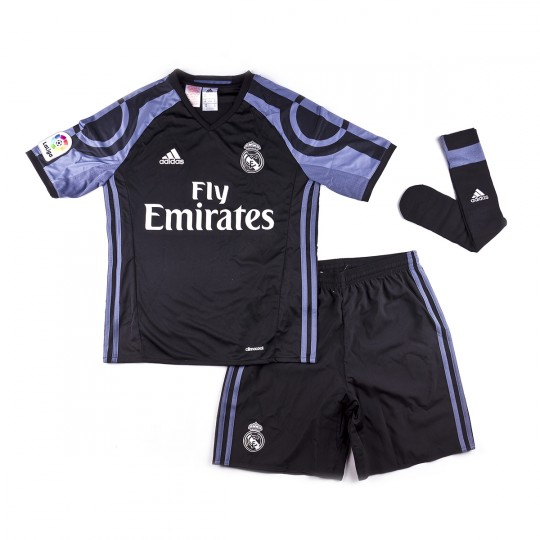 Kit adidas Real Madrid 3rd Kit 2016-2017 mini Kids Black-Super purple -  Football store Fútbol Emotion 0e6fcd3668482