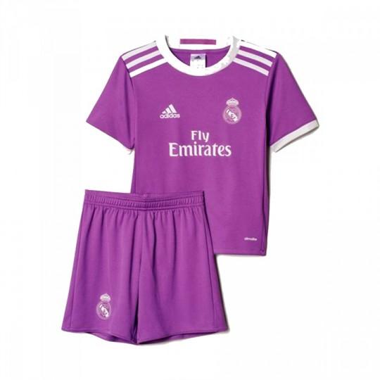 Conjunto  adidas jr Real Madrid Away Mini 2016-2017 Ray purple-Crystal white