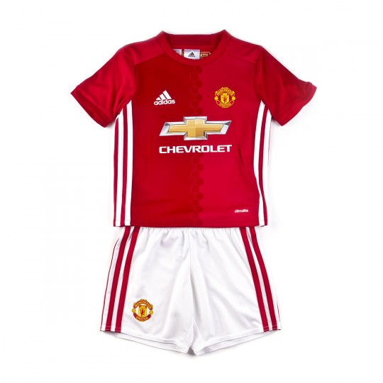 Conjunto  adidas jr Manchester United Home mini 2016-2017 real red-White