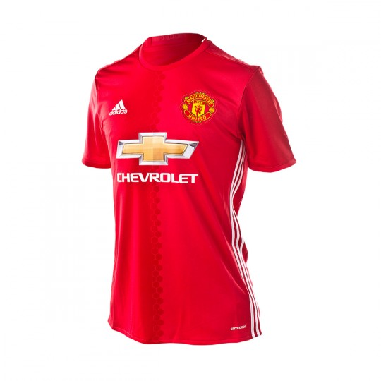 Camiseta  adidas jr Manchester united Home 2016-2017 Real red-White