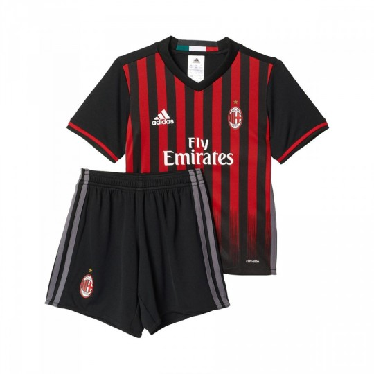 Conjunto  adidas AC Milan Home 2016-2017 Bebé Black-Victory red-Granite