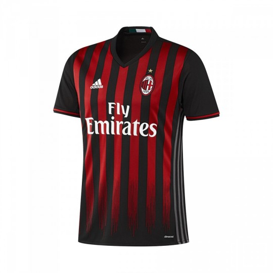Camiseta  adidas jr AC Milan Home 2016-2017 Black-Victory red-Granite