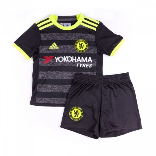 Conjunto  adidas jr Chelsea FC Away mini 2016-2017 Black-Solar yellow-Granite