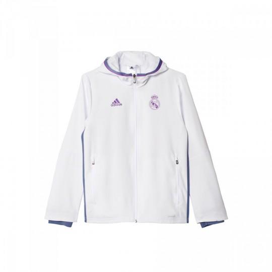 Chaqueta  adidas jr Real Madrid Pre-Match 2016-2017 Crystal white-Raw purple