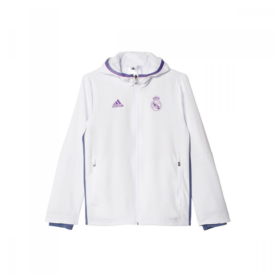 5cccf3a2597 Casaco adidas Jr Real Madrid Pre-Match 2016-2017 Crystal white-Raw purple -  Loja de futebol Fútbol Emotion