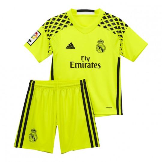 Conjunto  adidas jr Real Madrid Away Portero mini 2016-2017 Solar yellow-Black